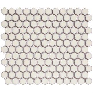 Torino Keramisch Mozaiek Zacht Wit Met Rand Hexagon