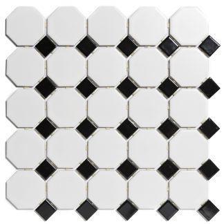 Rome Keramisch Mozaiek Wit Zwart Mat + Glans 56 x 56