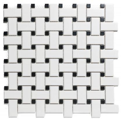 Rome Keramisch Mozaiek Mat Wit En Zwart 23 x 48