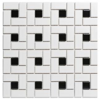 Rome Keramisch Mozaiek Wit Zwart Mat 56 x 56