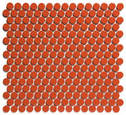 Valencia Oranje Glanzend Keramisch Mozaiek Rond 19 MM