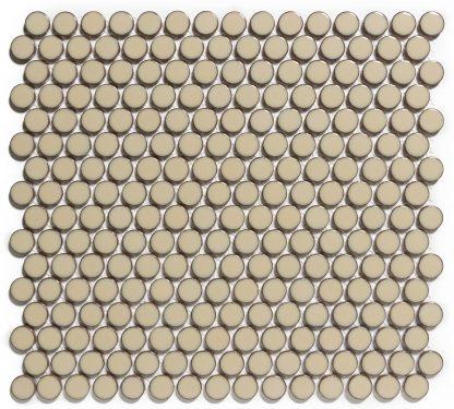 Valencia Beige Met Rand Glanzend Keramisch Mozaiek Rond 19 MM