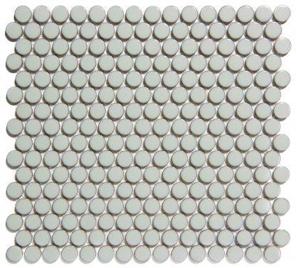 Valencia Licht Grijs Met Rand Glanzend Keramisch Mozaiek Rond 19 MM