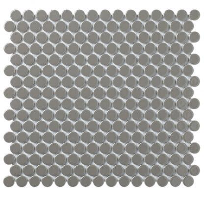 Valencia Donker Grijs Glanzend Keramisch Mozaiek Rond 19 MM